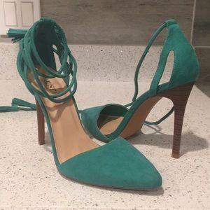 Emerald Green Suede Heel with Tie Up Straps